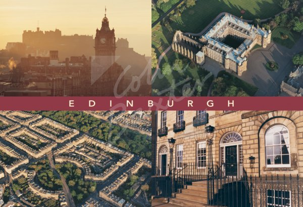 Castle, Palace & New Town Comp, Edinburgh Postcard (H Std CB)