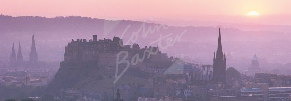 Edinburgh Castle and City at sunset, Edinburgh Postcard (H Pan C