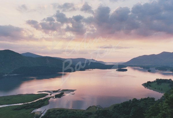 Derwent Water at Dusk, Lake District Postcard (H Std CB)