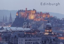 Edinburgh Castle & City at dusk, Edinburgh 3 Postcard (H Std CB)