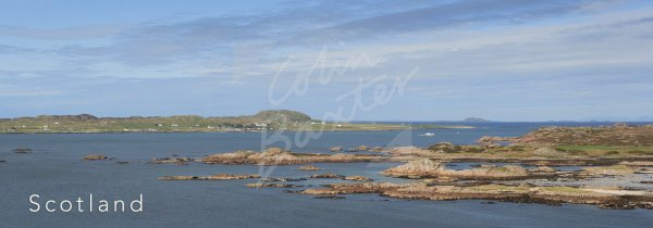 Iona & Ross of Mull from Erraid Postcard (H Pan CB)