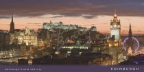 Edinburgh Castle & City at dusk Postcard (H Vis CB)