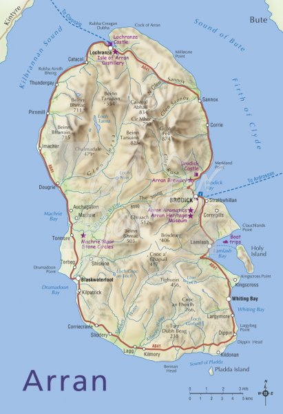 Map of Isle of Arran Postcard (V Std CB)