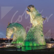 Kelpies at dusk, Falkirk Greetings Card (CB)