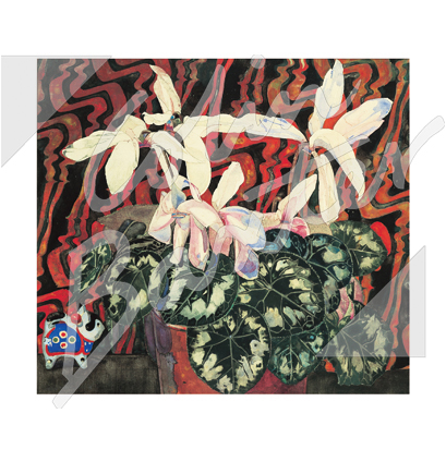 Mackintosh Cyclamen Textile Greetings Card